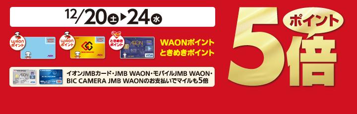 12/20(土)~12/24(水) WAONポイント・ときめきポイント5倍