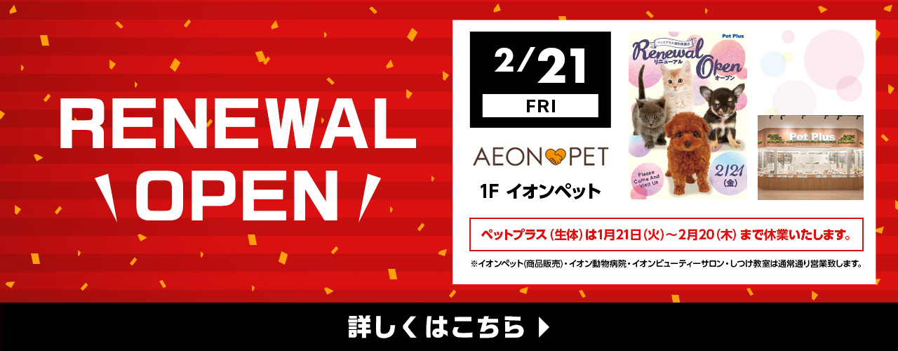 RENEWAL OPEN 2月21日(金) イオンペット